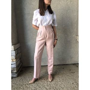VINTAGE | High waisted pleated linen pants
